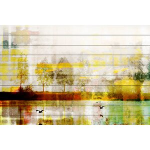 'Orr Lake' by Parvez Taj Painting Print on White Wood by Parvez Taj