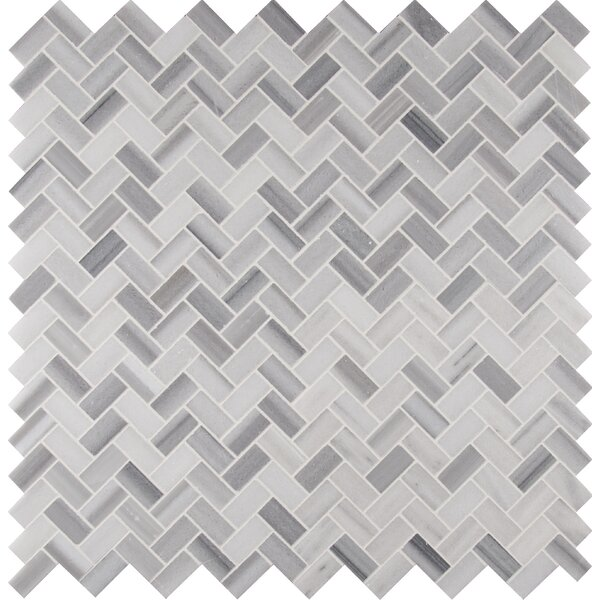 Bergamo Herringbone Polished 1 x 2 Marble Mosaic Tile in White by MSI