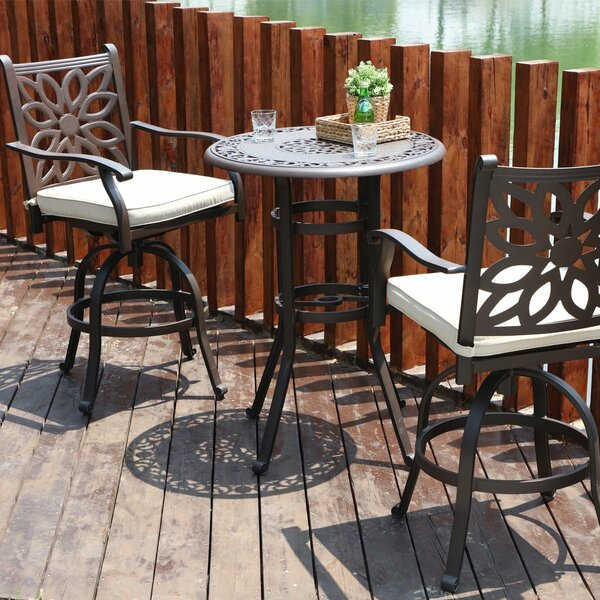 Longo Cast Aluminum 3 Piece Bistro Set With Cushions By House Of Hampton by House of Hampton Discount