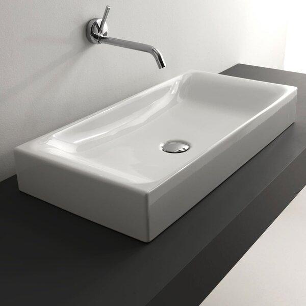 Cento Ceramic Ceramic Rectangular Vessel Bathroom Sink