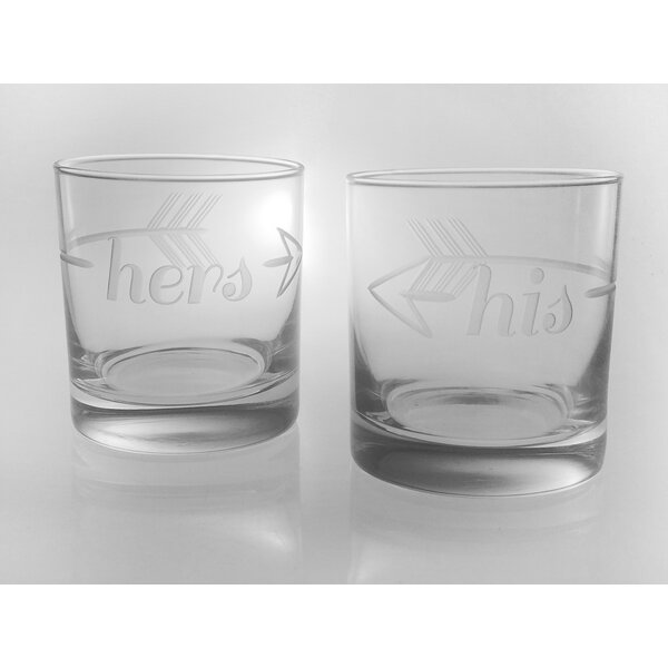 Bridal His & Hers on the Rocks 11 Oz. Glass (Set of 2) by Rolf Glass