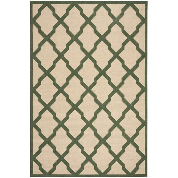 Cashion Cream/Green Area Rug by Longshore Tides