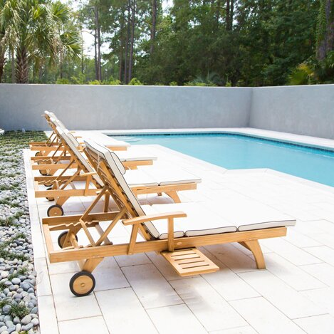 Teak Chaise Lounge Chairs chicteak bahama teak chaise lounge & reviews | wayfair
