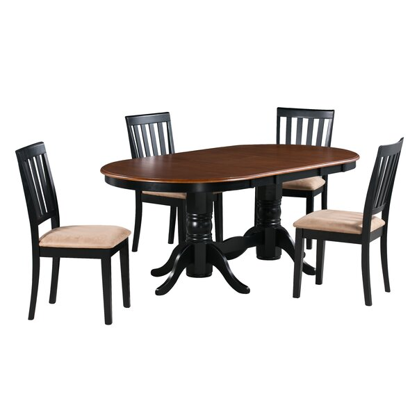 Amari 5 Piece Extendable Solid Wood Dining Set by Alcott Hill