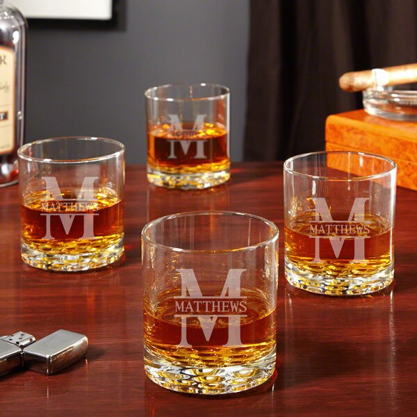 Oakmont Personalized Buckman 10 oz. Whiskey Glass (Set of 4) by Home Wet Bar