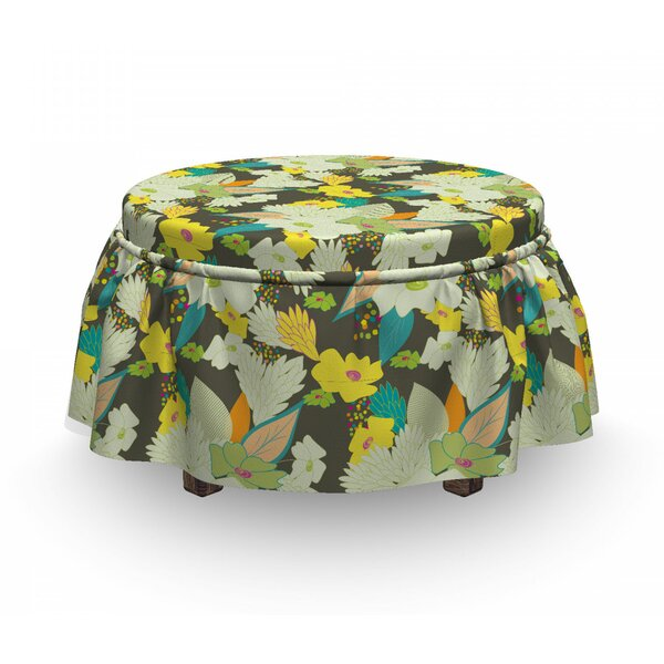 Lively Ed Summer Blooms Ottoman Slipcover (Set Of 2) By East Urban Home
