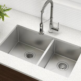 33 L x 19 W Double Basin Undermount Kitchen Sink with Drain Assembly ByKraus