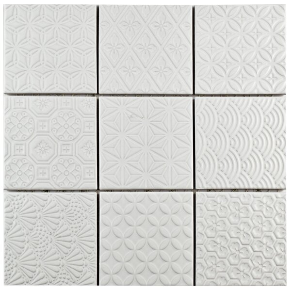 Vigor 3.88 x 3.88 Porcelain Mosaic Tile in White by EliteTile