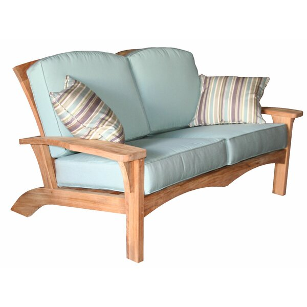Frausto Deep Seating Teak Loveseat with Sunbrella Cushions by Millwood Pines