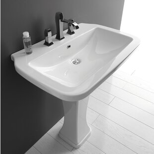 Compare Nova Ceramic 30 Pedestal Bathroom Sink with Overflow ByWS Bath Collections