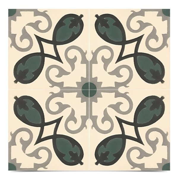 Agadir Handmade 8 x 8 Cement Field Tile in Green/White by Moroccan Mosaic