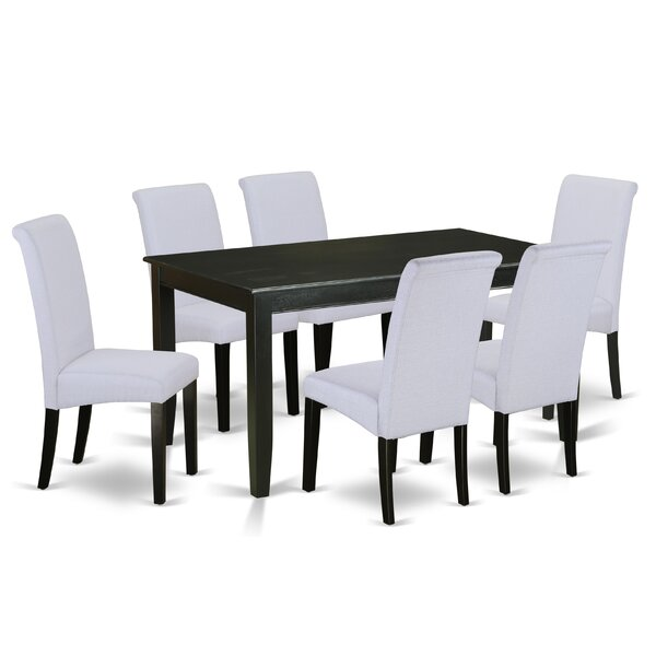 Tiara Table 7 Piece Solid Wood Dining Set by Winston Porter