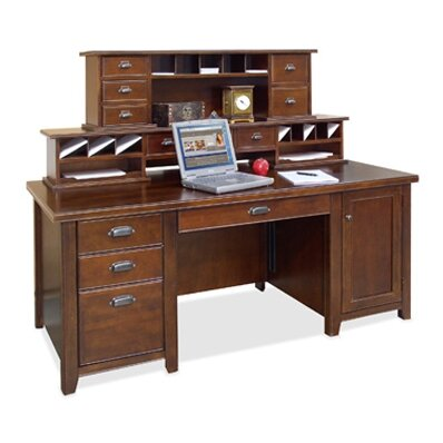 Tribeca Loft Executive Desk with Hutch by Martin Home Furnishings