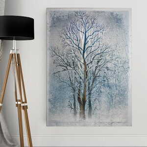 'Silver Tree I' by Mike Calascibetta Graphic Art on Wrapped Canvas by Wexford Home