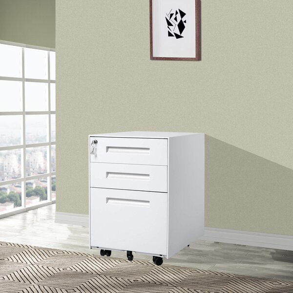 Sturdy 3-Drawer Mobile Vertical Filing Cabinet