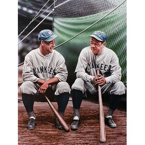 Babe Ruth and Lou Gehrig Artwork by Darryl Vlasak Photographic Print on Wrapped Canvas by Buy Art For Less