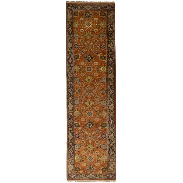 One-of-a-Kind Doerr Hand-Knotted Wool Orange Area Rug by Isabelline