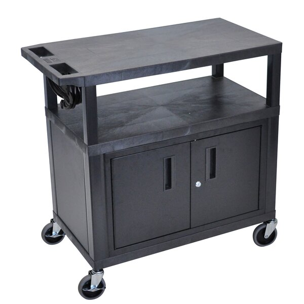 Flat Shelf Electric AV Cart by Offex