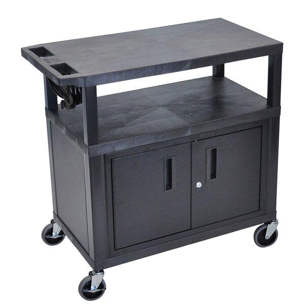 Flat Shelf Electric AV Cart by Offex