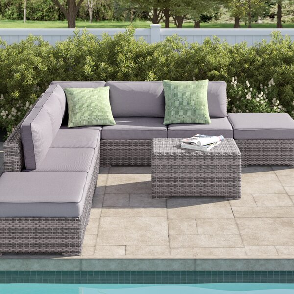 Letona Double Ottoman 4 Piece Sectional Seating Group with Cushions by Sol 72 Outdoor
