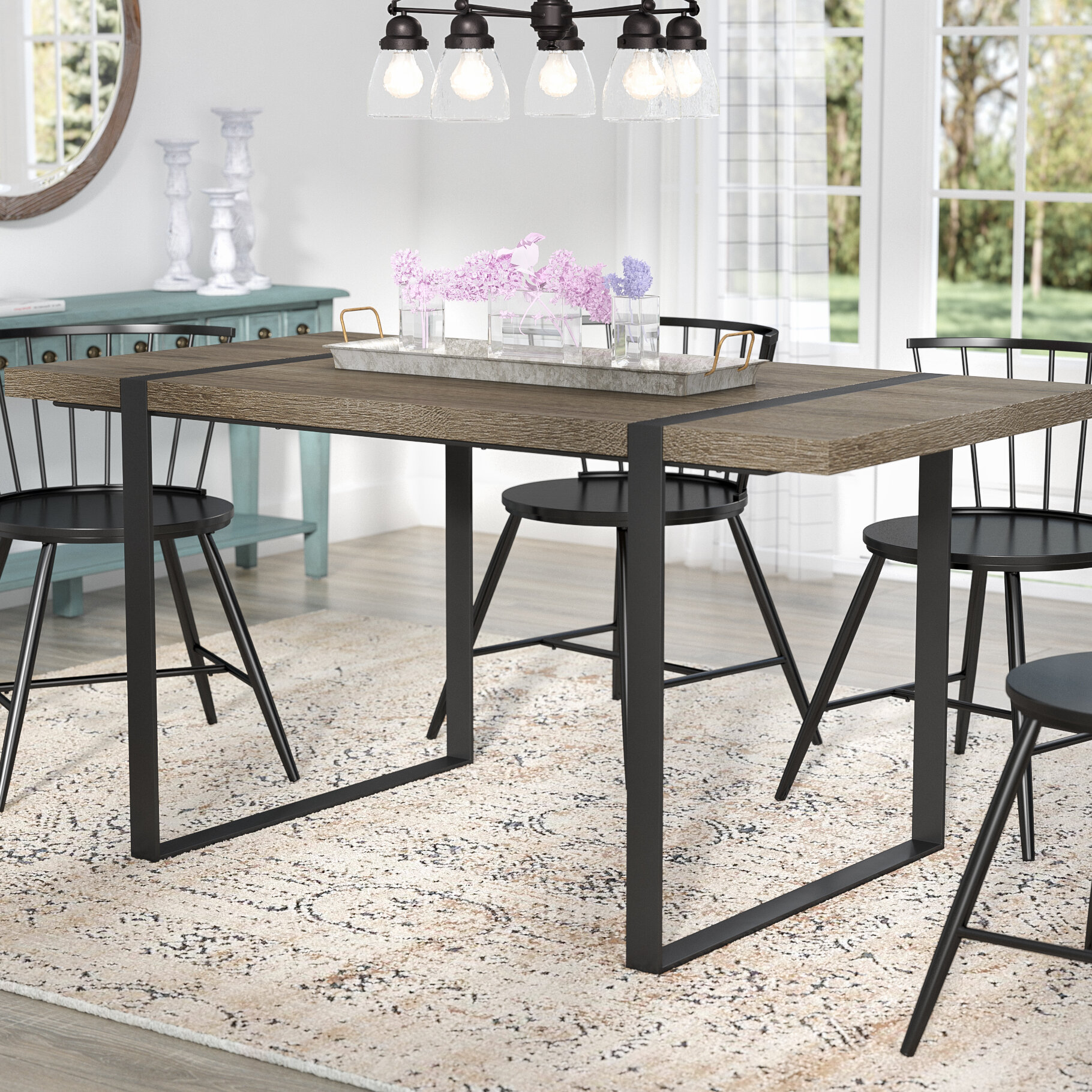Laurel Foundry Modern Farmhouse Madelyn Urban Blend Wood Dining Table Wayfair