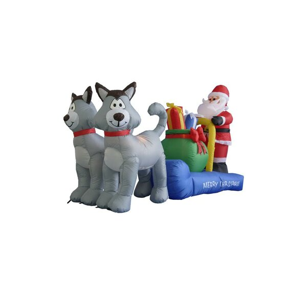 7 ft. Long Husky Sleigh with Santa Christmas Decor