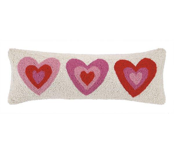Pink Hearts Hook Wool Lumbar Pillow by Peking Handicraft