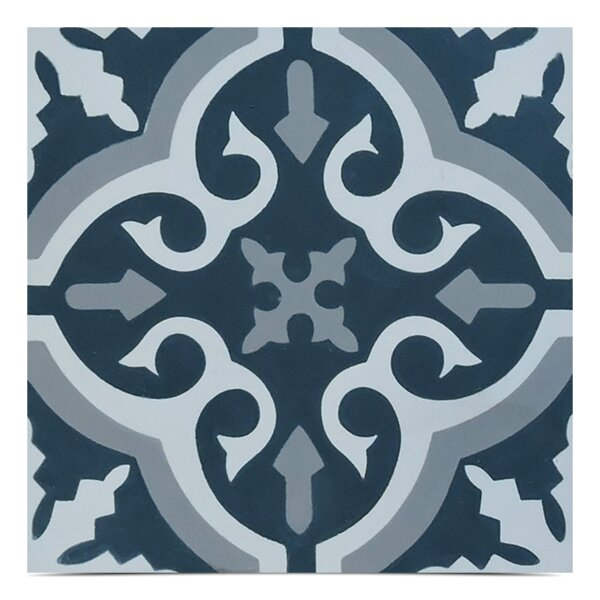 Argana Handmade 8x 8 Cement Field Tile in Navy Blue/White by Moroccan Mosaic