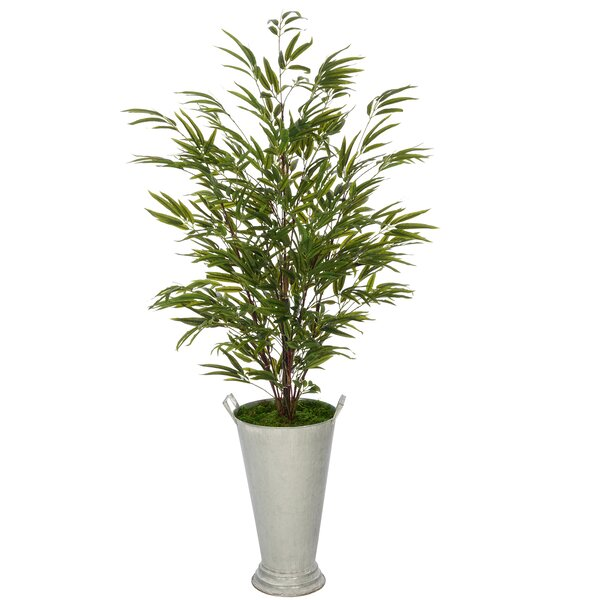Faux Galvanized Southern Farm Floor Bamboo Tree in Bucket by World Menagerie