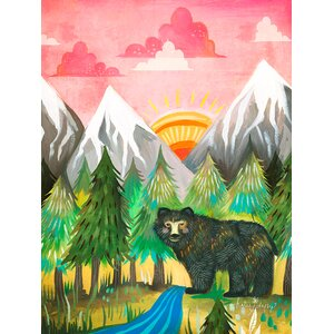 'Sunrise Bear' by Katie Daisy Print of Painting on Canvas by Wheatpaste Art Collective