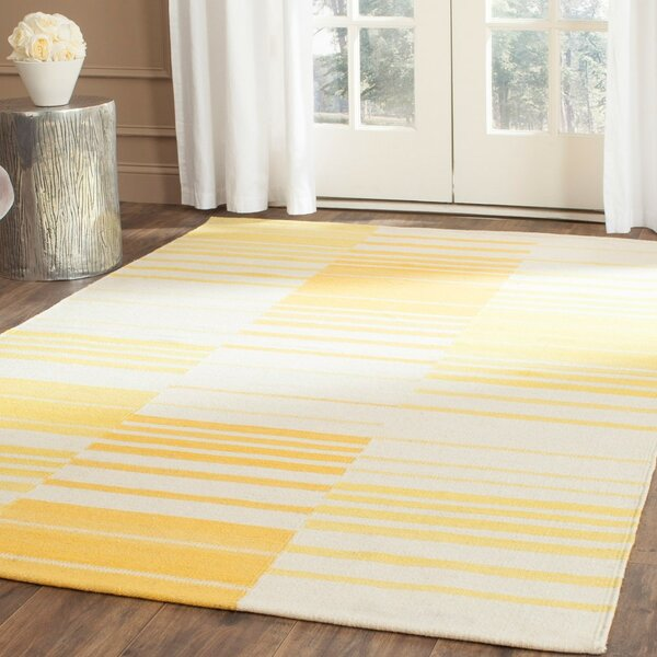 Kilim Gold & Ivory Striped Area Rug by Safavieh