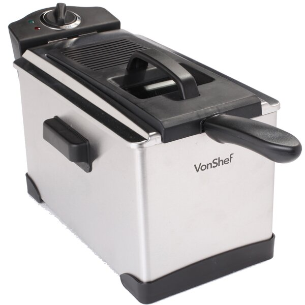 3.5 Liter Oil Capacity Stainless Steel Deep Fryer with Basket by VonShef