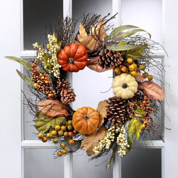 24 Pumpkin Berry Maple Leaf Wreath by August Grove