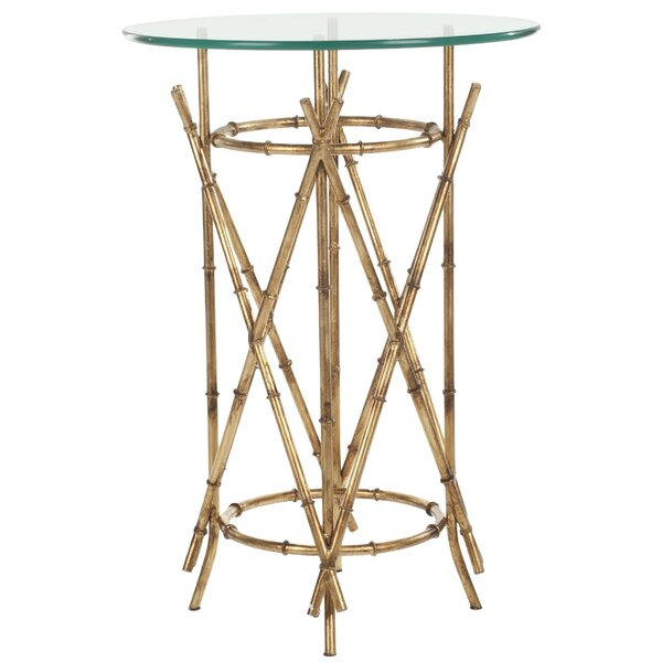 Rex Glass Top Cross Legs End Table By Mercer41