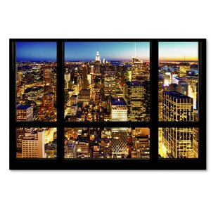 Night View of Manhattan Photographic Print on Wrapped Canvas by Latitude Run