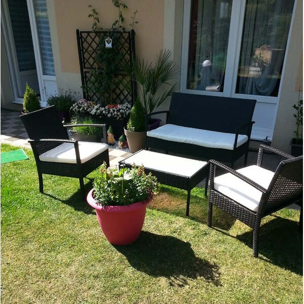 Balcony 4 Piece Complete Patio Set with Cushions by StellaHome