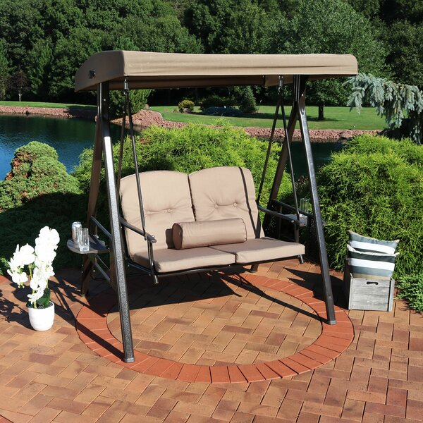Woodley 2-Person Adjustable Tilt Canopy Patio Loveseat Porch Swing by Freeport Park Freeport Park