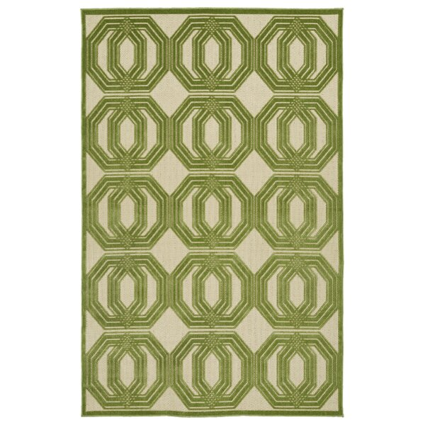 Covedale Green/Cream Indoor/Outdoor Area Rug by Charlton Home