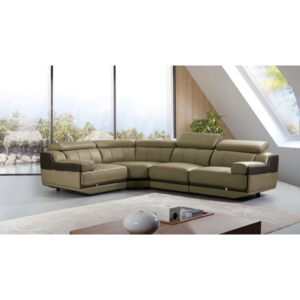 Vidal Leather Left Hand Facing Sectional by Latitude Run