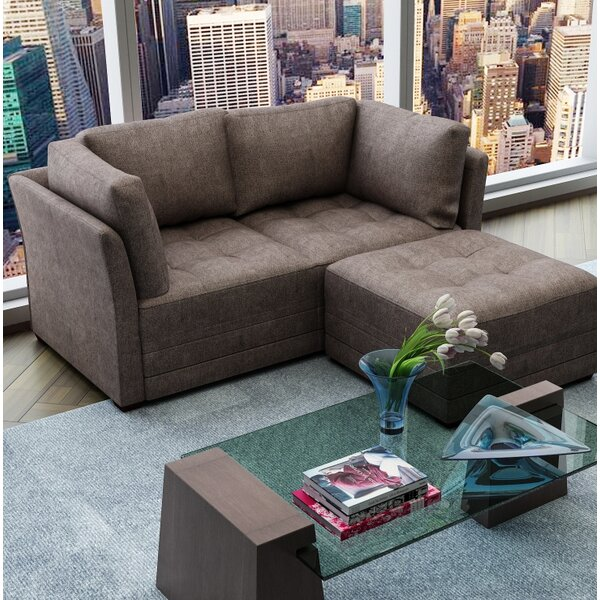 Frampton Upholstery Modular Loveseat with Ottoman by Latitude Run