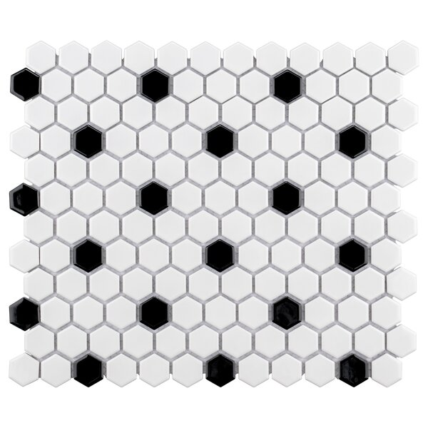 Retro 1 x 1 Porcelain Mosaic Tile in Black/White by EliteTile