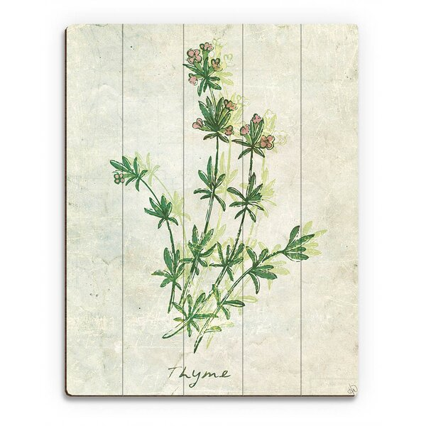 Wood Slats Herb Thyme Painting Print on Plaque by Click Wall Art