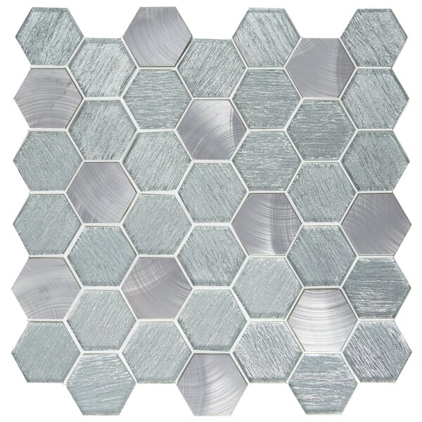 Glitz 2 x 2 Glass/Aluminum Mosaic Tile in Fame by Emser Tile