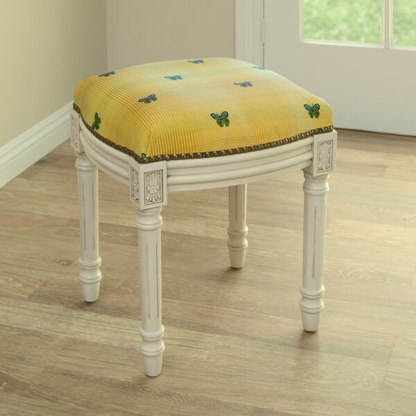 Butterfly Upholstered Vanity Stool by 123 Creations