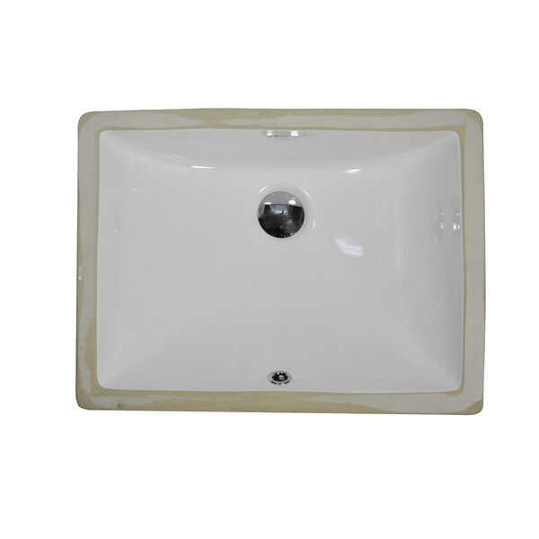 Ceramic Rectangular Undermount Bathroom Sink with Overflow by UCore
