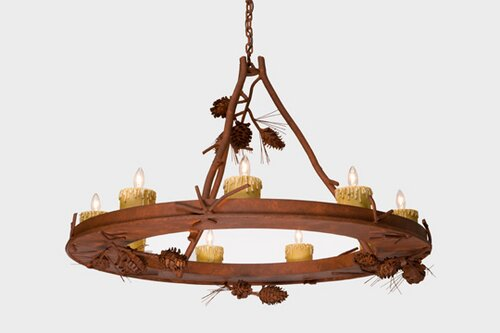 Aitken 9-Light Candle Style Wagon Wheel Chandelier By Loon Peak