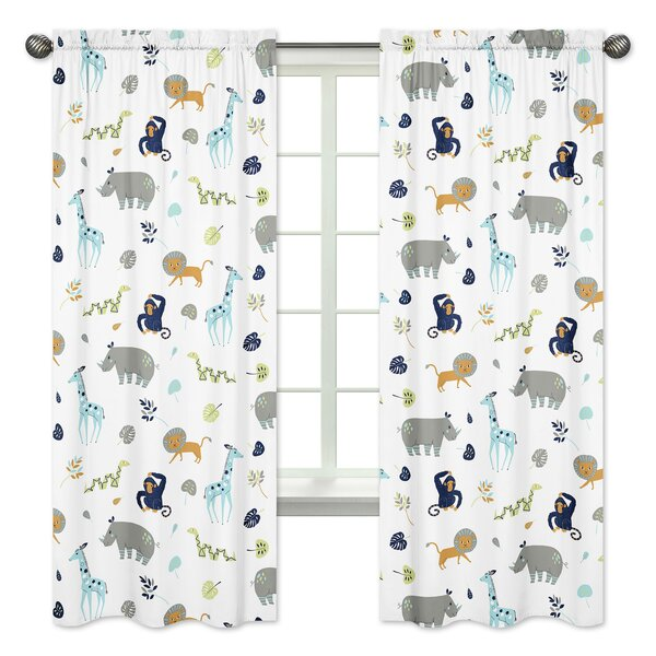 Mod Jungle Wildlife Rod Pocket Window Curtain Panels (Set of 2) by Sweet Jojo Designs