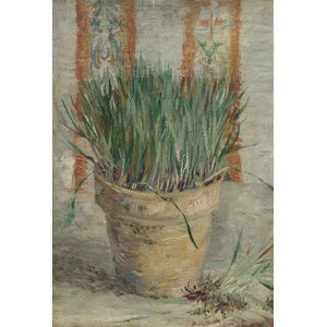 'Flowerpot with Chives,1887' by Vincent Van Gogh Painting Print on Wrapped Canvas by Buy Art For Less