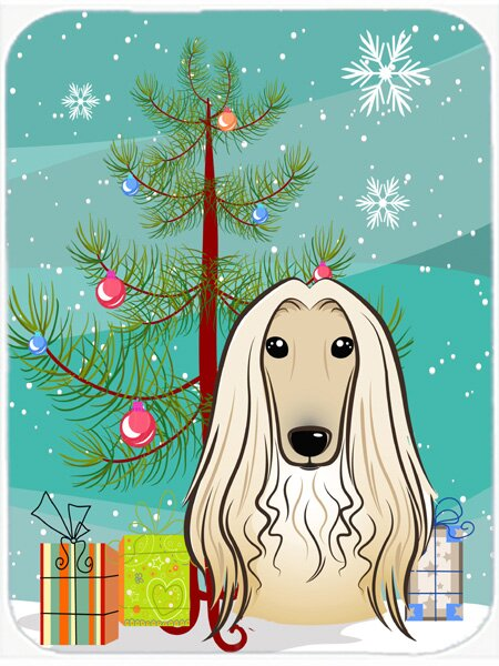Under the Christmas Tree and Afghan Hound Glass Cutting Board by Caroline's Treasures