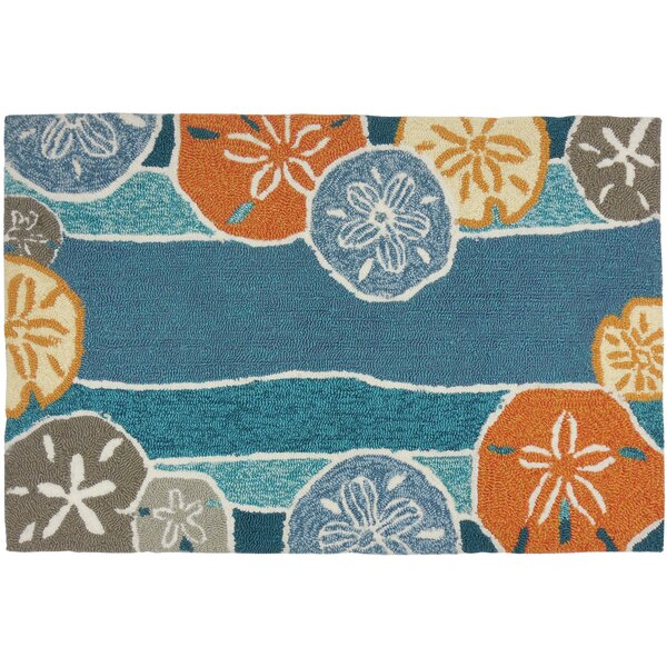 Brownsville Beachcomber Teal Indoor/Outdoor Area Rug by Breakwater Bay